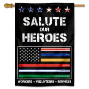 Salute Workers Services Thin Line Banner Flag