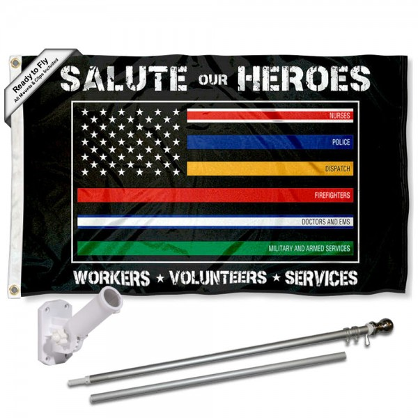Salute Our Hero Workers Flag and Flag Pole Kit measures 3'x5', is made of 100% poly, has quadruple stitched sewing, two metal grommets, and has double sided Salute Our Hero Workers logos.