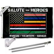 Salute Our Hero Workers Flag and Flag Pole Kit