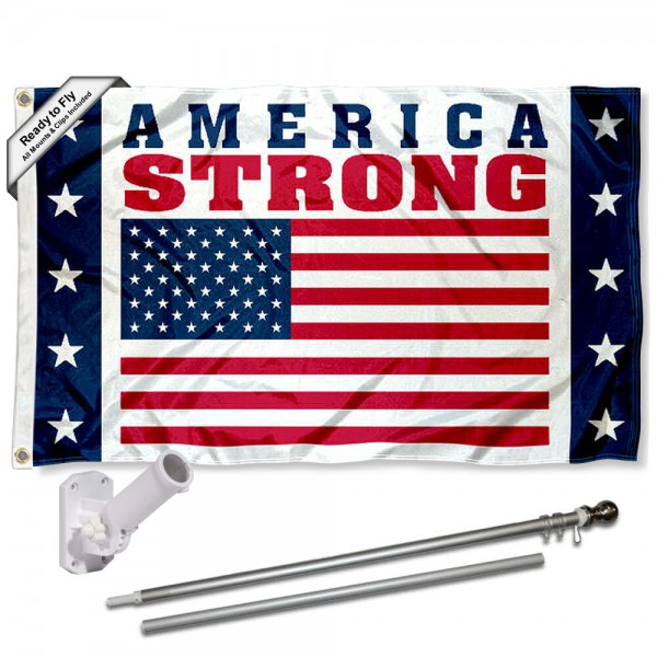 America Strong USA United Flag and Flag Pole Kit measures 3'x5', is made of 100% poly, has quadruple stitched sewing, two metal grommets, and has double sided America Strong USA United logos.