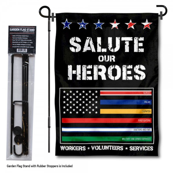 "Essential Services Workers Thin Line Garden Flag and Pole Stand kit includes our 12""x18"" garden banner which is made and assembled in the USA, is made of 1 ply poly, and has screen printed licensed logos. Also, a 40""x17"" inch garden flag stand is included so your Essential Services Workers Thin Line Garden Flag and Pole Stand is ready to be displayed with no tools needed for setup. Fast Overnight Shipping is offered and the flag is Officially Licensed and Approved by the selected team."