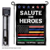 Essential Services Workers Thin Line Garden Flag and Pole Stand