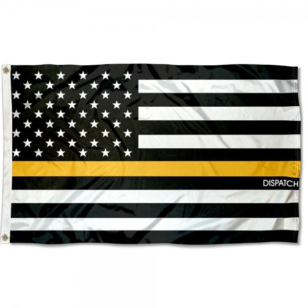 Dispatch Thin Line Flag measures 3'x5', is made of 100% poly, has quadruple stitched sewing, two metal grommets, and has double sided Dispatch Thin Line logos.