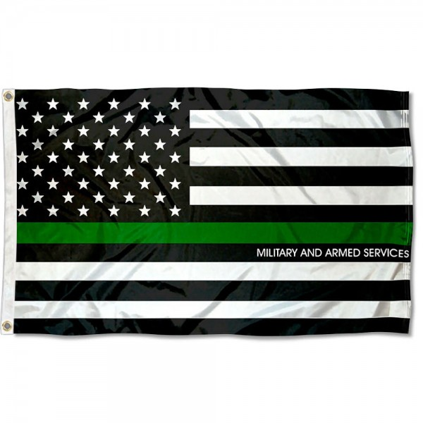 Military and Armed Services Thin Line Flag measures 3'x5', is made of 100% poly, has quadruple stitched sewing, two metal grommets, and has double sided Military and Armed Services Thin Line logos.