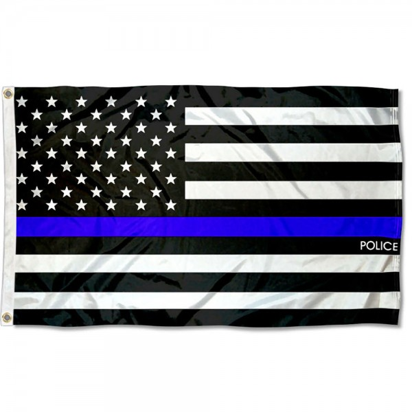 Police Thin Line Flag measures 3'x5', is made of 100% poly, has quadruple stitched sewing, two metal grommets, and has double sided Police Thin Line logos.