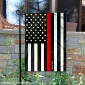 Firefighters Red Thin Line Garden Flag
