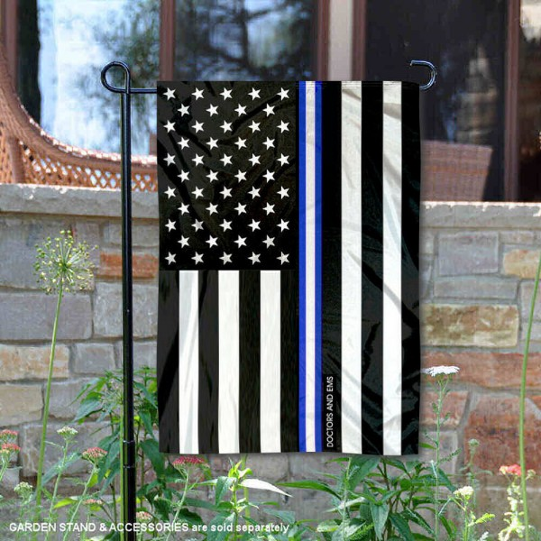 EMS and Doctors Blue Thin Line Garden Flag is 13x18 inches in size, is made of 2-layer polyester, screen printed logos and lettering, and is viewable on both sides. Available same day shipping, our EMS and Doctors Blue Thin Line Garden Flag is a great addition to your decorative garden flag selections.