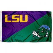 LSU vs Tulane House Divided 3x5 Flag