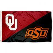 Oklahoma vs Oklahoma State House Divided 3x5 Flag