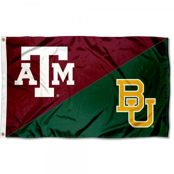 Texas AM vs Baylor House Divided 3x5 Flag sizes at 3x5 feet, is made of 100% polyester, has quadruple-stitched fly ends, and the university logos are screen printed into the Texas AM vs Baylor House Divided 3x5 Flag. The Texas AM vs Baylor House Divided 3x5 Flag is approved by the NCAA and the selected universities.