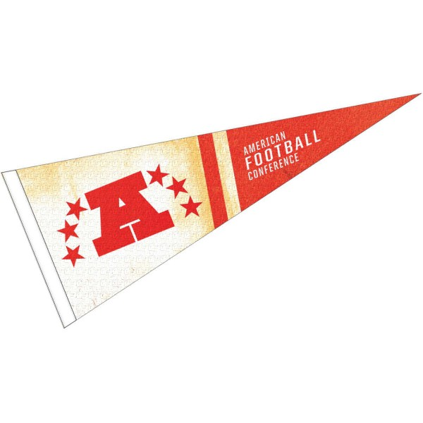AFC Conference Pennant is 12x30 inches in size, is made of a soft wool/felt blend, has a sewn sleeve for insertion of a pennant stick, and screen printed team logos. These AFC Conference Pennants are officially licensed.