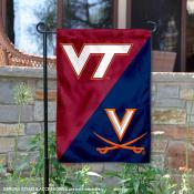 VA Tech Hokies vs Virginia Cavaliers House Divided Garden Flag