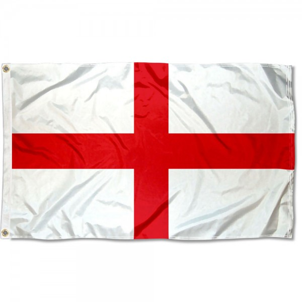 England Flag 3x5 Printed Flag measures 3'x5', is made of 100% poly, has quadruple stitched sewing, two metal grommets, and has double sided England logos.