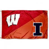 Wisconsin vs Illinois House Divided 3x5 Flag