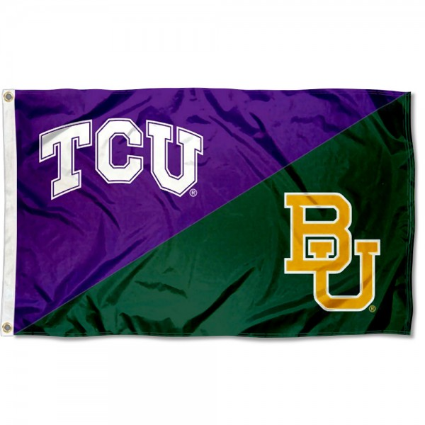 Texas Christian vs Baylor House Divided 3x5 Flag sizes at 3x5 feet, is made of 100% polyester, has quadruple-stitched fly ends, and the university logos are screen printed into the Texas Christian vs Baylor House Divided 3x5 Flag. The Texas Christian vs Baylor House Divided 3x5 Flag is approved by the NCAA and the selected universities.