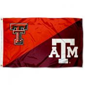 Texas Tech vs Texas AM House Divided 3x5 Flag
