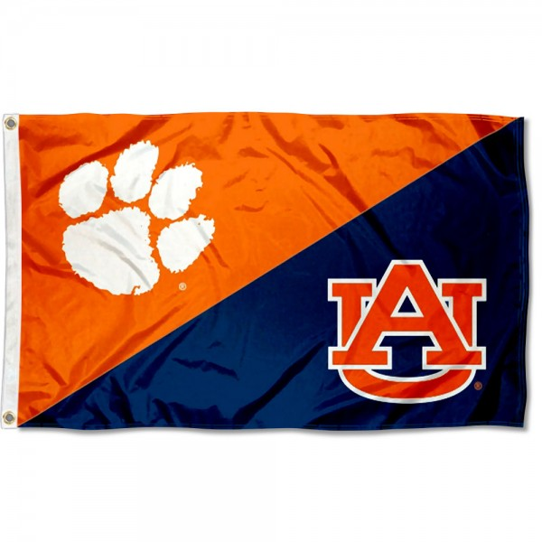 Clemson vs Auburn House Divided 3x5 Flag sizes at 3x5 feet, is made of 100% polyester, has quadruple-stitched fly ends, and the university logos are screen printed into the Clemson vs Auburn House Divided 3x5 Flag. The Clemson vs Auburn House Divided 3x5 Flag is approved by the NCAA and the selected universities.