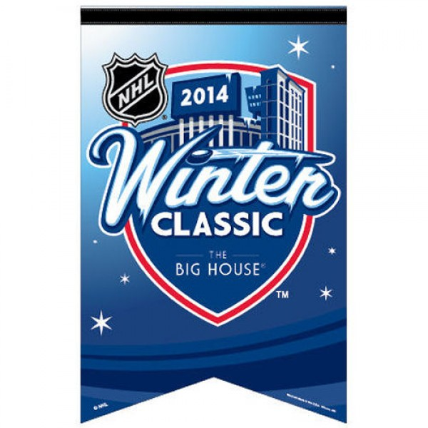 "2014 Winter Classic Felt Banner displays Winter Classic logos, made of soft wool blends, a large 17""x26"", and is Officially Licensed. These 2014 Winter Classic Felt Banners are perfect for showing your allegiance on any wall at home or office and make great party decorations."