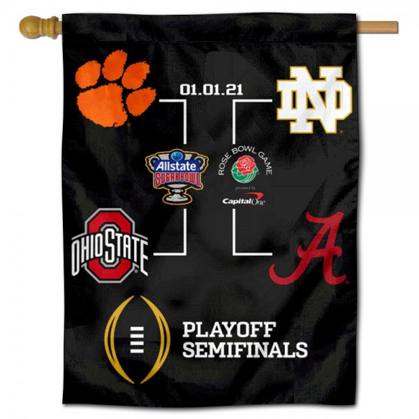 2020 College Football Playoff Banner measures 30x40 inches, is made of poly, has a top hanging sleeve, and offers dye sublimated OU Sooners logos. This Decorative 2020 College Football Playoff Banner is officially licensed by the NCAA.