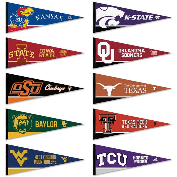 Big 12 Conference Pennants consists of all Big Twelve Conference school pennants and measure 12x30 inches. All 10 Big 12 Conference teams are included and the Big 12 Conference Pennants is officially licensed by the NCAA and selected conference schools.