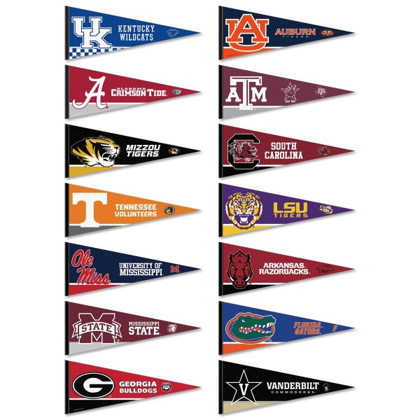 SEC Conference Pennants consists of all SEC Conference school pennants and measure 12x30 inches. All 14 Southeastern Conference teams are included and the SEC Conference Pennants is officially licensed by the NCAA and selected conference schools.