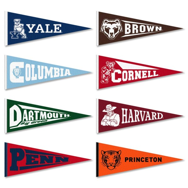 Ivy League Conference Pennants consists all Ivy League Conference school pennants and measure 9x24 inches. All 8 Ivy Conference teams are included and the Ivy League Conference Pennants is officially licensed by the NCAA and selected conference schools.