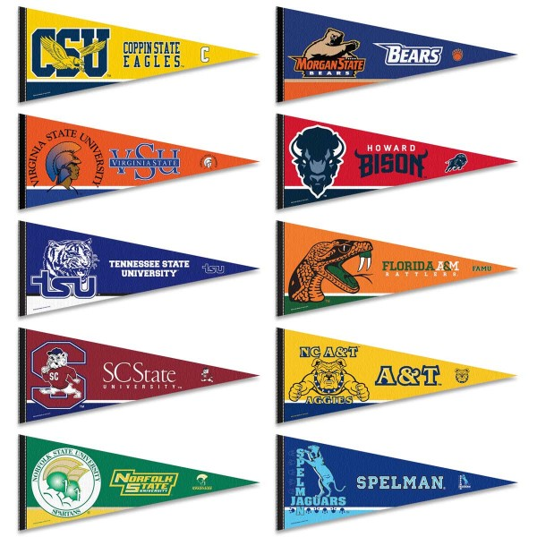 HBCU Conference Pennants consists of ten randomly selected HBCU pennants and measure 12x30 inches. All HBCU pennants are are approved by the selected HBCU college or university.