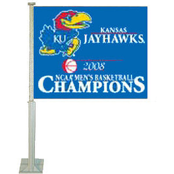 Our University of Kansas 2008 National Champs Car Flag measures 12x15 inches, is made of double sided polyester, includes a durable pole and bracket, and is double-sided. The University of Kansas 2008 National Champs Car Flag is officially licensed by the NCAA and the selected school university.