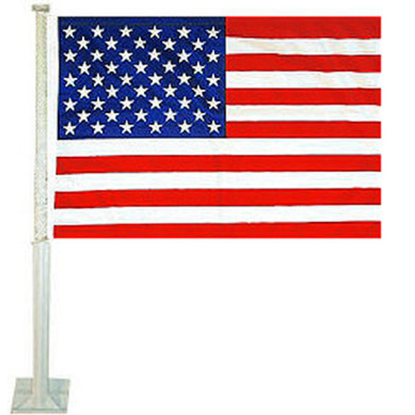 US Car Flag measures 12x15 inches, is constructed of sturdy 2 ply polyester, and has dye sublimated stars and stripes which won't peel and remain durable. Get your US Car Flag.