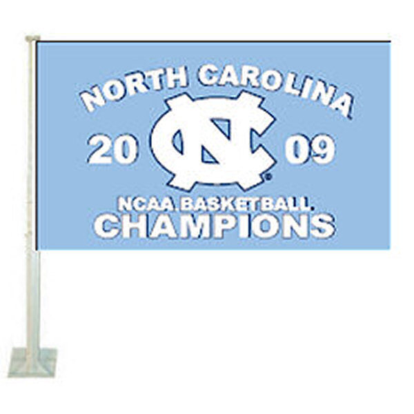 The UNC 2009 Final Four Champs Car Flag is 12x15 inches in size, is made of 2-ply polyester, includes pole and bracket, and is double-sided. The UNC 2009 Final Four Champs Car Flag is officially licensed by the selected school university.