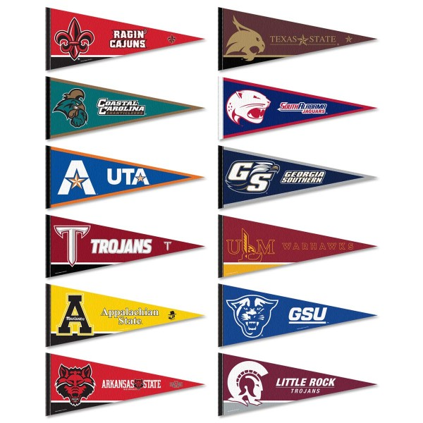 Sun Belt Conference Pennants consists of all Sun Belt Conference school pennants and measure 12x30 inches. All 12 Sun Belt Conference teams are included and the Sun Belt Conference Pennants is officially licensed by the NCAA and selected conference schools.