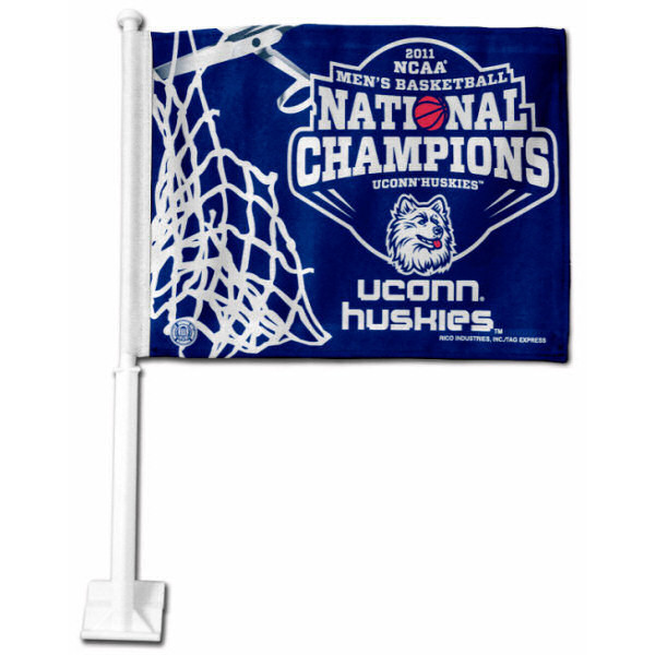 UConn National Champs Car Flag measures 12x15 inches, is constructed of sturdy 2 ply polyester, and has dye sublimated school logos which are readable and viewable correctly on both sides. UConn National Champs Car Flag is officially licensed by the NCAA and selected university
