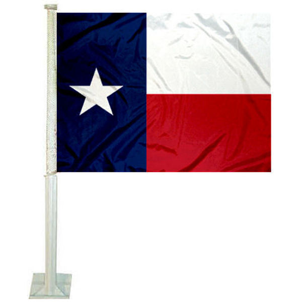 Texas State Car Flag measures 12x15 inches, is constructed of sturdy 2 ply polyester, and has dye sublimated TX logos which are readable and viewable correctly on both sides.