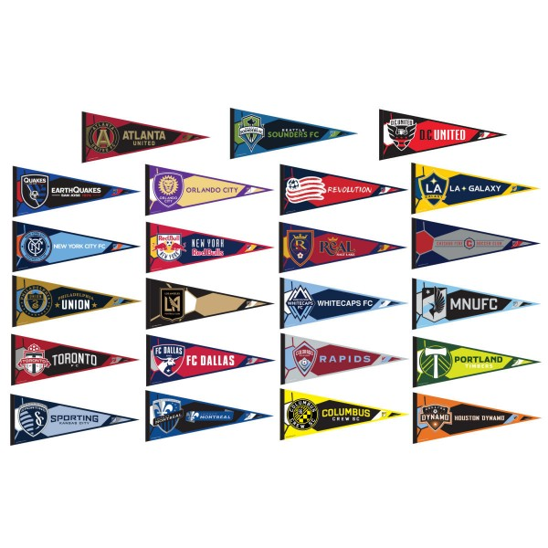 All MLS Soccer teams are included in our MLS Pennant Set. Each pennant measures a full sized 12x30 inches, single sided printed and our MLS Pennant Set is made of felt and wool blends.
