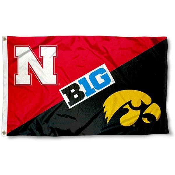 Nebraska vs. Iowa House Divided 3x5 Flag sizes at 3x5 feet, is made of 100% polyester, has quadruple-stitched fly ends, and the university logos are screen printed into the Nebraska vs. Iowa House Divided 3x5 Flag. The Nebraska vs. Iowa House Divided 3x5 Flag is approved by the NCAA and the selected universities.