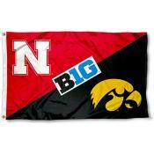 Nebraska vs. Iowa House Divided 3x5 Flag