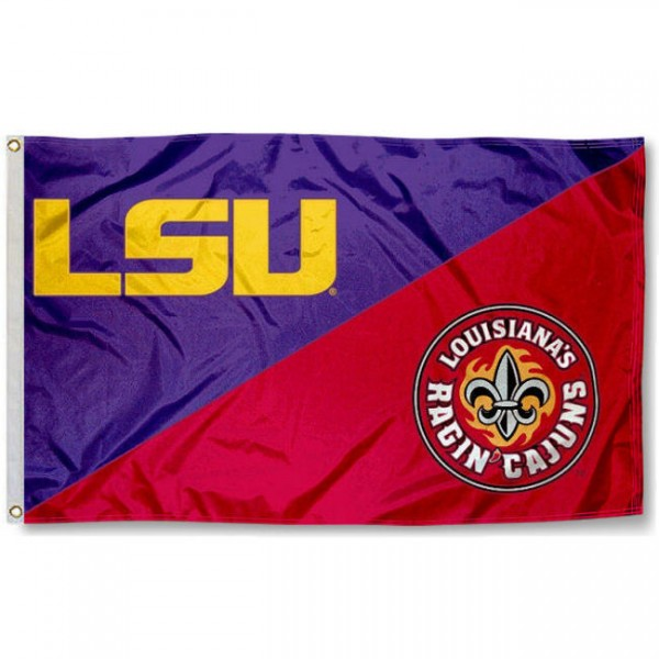 LSU vs. Ragin Cajuns House Divided 3x5 Flag sizes at 3x5 feet, is made of 100% polyester, has quadruple-stitched fly ends, and the university logos are screen printed into the LSU vs. Ragin Cajuns House Divided 3x5 Flag. The LSU vs. Ragin Cajuns House Divided 3x5 Flag is approved by the NCAA and the selected universities.