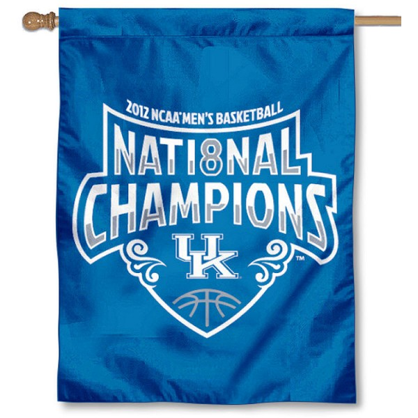 Kentucky Official Logo National Champions Banner Flag is double-sided, 30x40 inches, made of 2 ply poly, has a top sleeve for insertion of a flagpole or banner pole, and the Championship logos are screen printed into the Kentucky Official Logo National Champions Banner Flag.