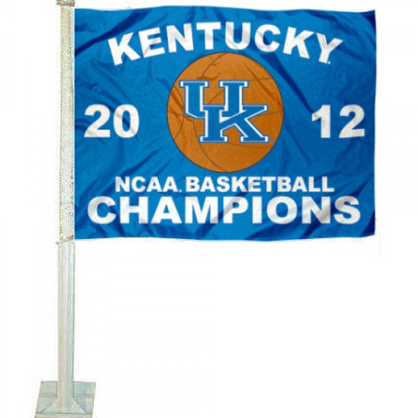 Our 2012 UK Wildcats National Champions Car Flag has 2012 Basketball Championship logos, measures 12x15 inches, is 2-ply polyester, includes a durable pole and bracket. Our 2012 UK Wildcats National Champions Car Flag is officially licensed by the NCAA.