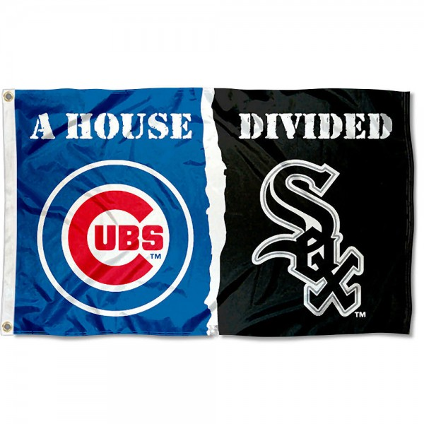 House Divided Flag - Cubs vs. White Sox sizes at 3x5 feet, is made of 100% polyester, has four-stitched fly ends, and the MLB Club logos are screen printed into the House Divided Flag - Cubs vs. White Sox. The House Divided Flag - Cubs vs. White Sox is approved by the Major League Baseball and the specific teams.