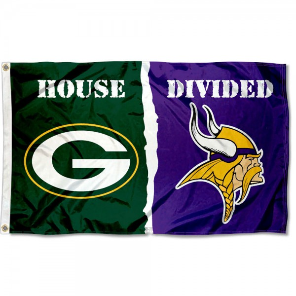House Divided Flag - Packers vs. Vikings sizes at 3x5 feet, is made of 100% polyester, has quadruple-stitched fly ends, and the Football Team logos are screen printed into the House Divided Flag - Packers vs. Vikings. The House Divided Flag - Packers vs. Vikings is approved by NFL and the selected NFL Teams.