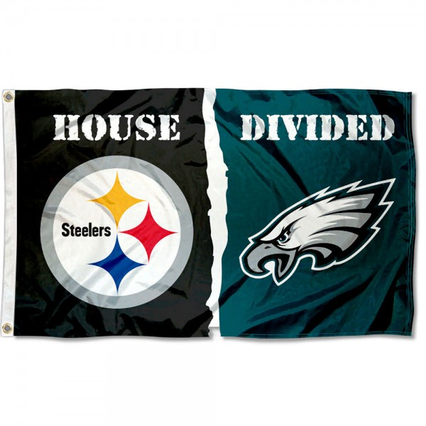 House Divided Flag - Steelers vs. Eagles sizes at 3x5 feet, is made of 100% polyester, has quadruple-stitched fly ends, and the Football Team logos are screen printed into the House Divided Flag - Steelers vs. Eagles. The House Divided Flag - Steelers vs. Eagles is approved by NFL and the selected NFL Teams.