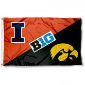 Illinois vs. Iowa House Divided 3x5 Flag