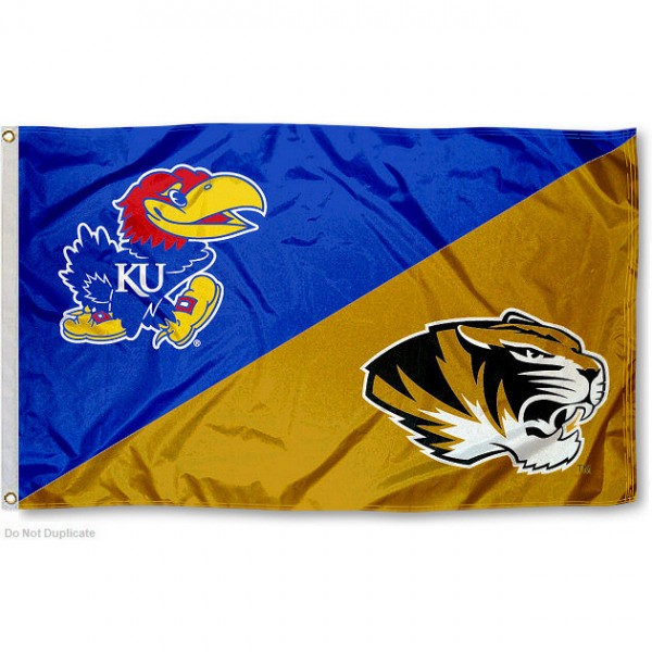 Kansas vs Missouri House Divided 3x5 Flag sizes at 3x5 feet, is made of 100% polyester, has quadruple-stitched fly ends, and the university logos are screen printed into the Kansas vs Missouri House Divided 3x5 Flag. The Kansas vs Missouri House Divided 3x5 Flag is approved by the NCAA and the selected universities.