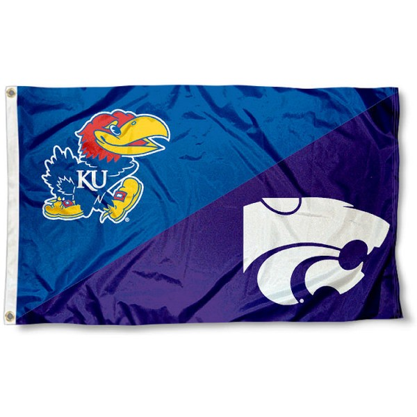Kansas vs Kansas State House Divided 3x5 Flag sizes at 3x5 feet, is made of 100% polyester, has quadruple-stitched fly ends, and the university logos are screen printed into the Kansas vs Kansas State House Divided 3x5 Flag. The Kansas vs Kansas State House Divided 3x5 Flag is approved by the NCAA and the selected universities.
