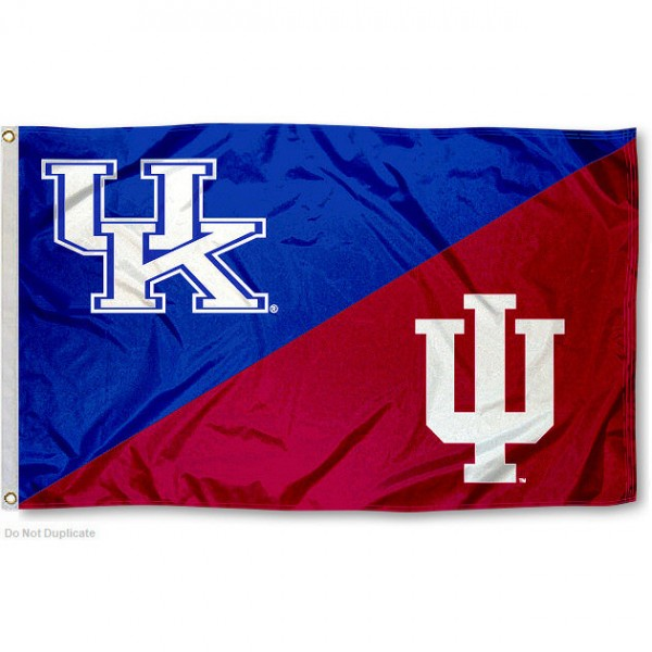 Kentucky vs Indiana House Divided 3x5 Flag sizes at 3x5 feet, is made of 100% polyester, has quadruple-stitched fly ends, and the university logos are screen printed into the Kentucky vs Indiana House Divided 3x5 Flag. The Kentucky vs Indiana House Divided 3x5 Flag is approved by the NCAA and the selected universities.