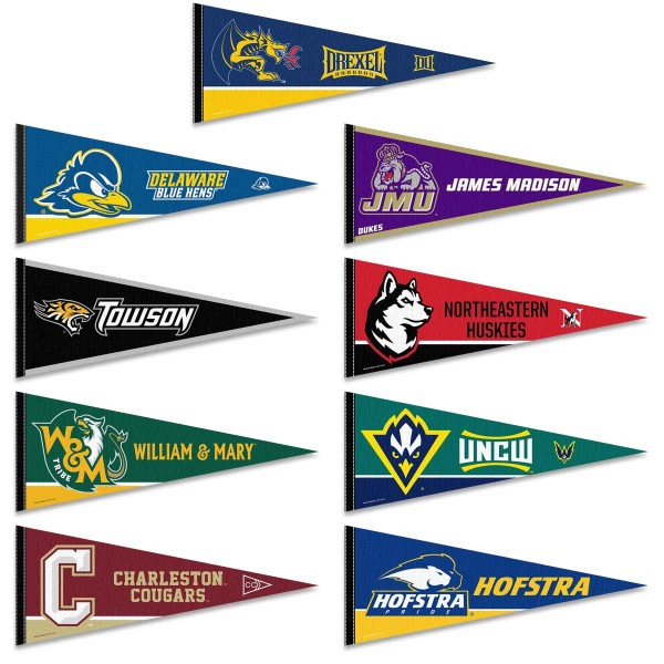 CAA Conference Pennants consists of all Colonial Athletic Association school pennants and measure 12x30 inches. All 9 CAA Conference teams are included and the CAA Conference Pennants are officially licensed by the NCAA and selected conference schools.