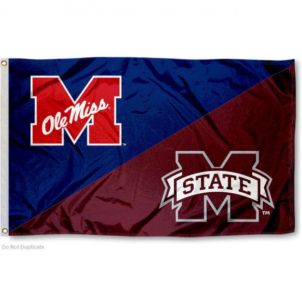 Ole Miss vs Mississippi State House Divided 3x5 Flag sizes at 3x5 feet, is made of 100% polyester, has quadruple-stitched fly ends, and the university logos are screen printed into the Ole Miss vs Mississippi State House Divided 3x5 Flag. The Ole Miss vs Mississippi State House Divided 3x5 Flag is approved by the NCAA and the selected universities.