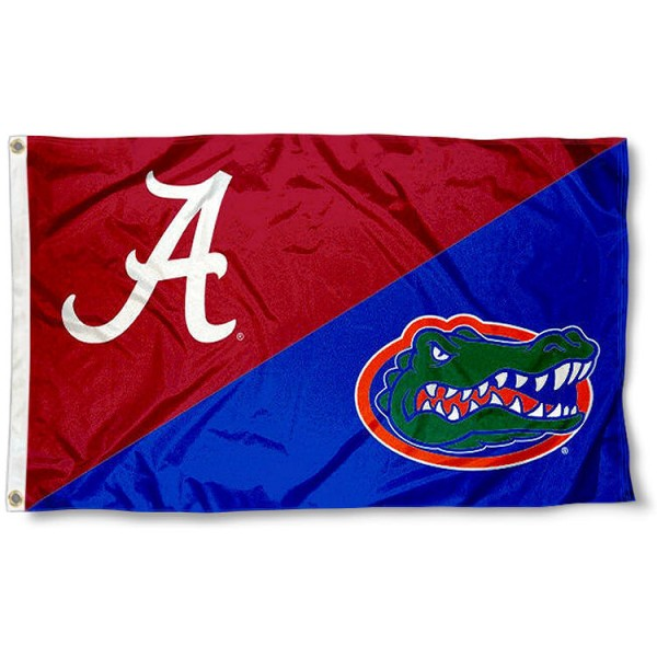 Alabama vs. Florida House Divided 3x5 Flag sizes at 3x5 feet, is made of 100% polyester, has quadruple-stitched fly ends, and the university logos are screen printed into the Alabama vs. Florida House Divided 3x5 Flag. The Alabama vs. Florida House Divided 3x5 Flag is approved by the NCAA and the selected universities.