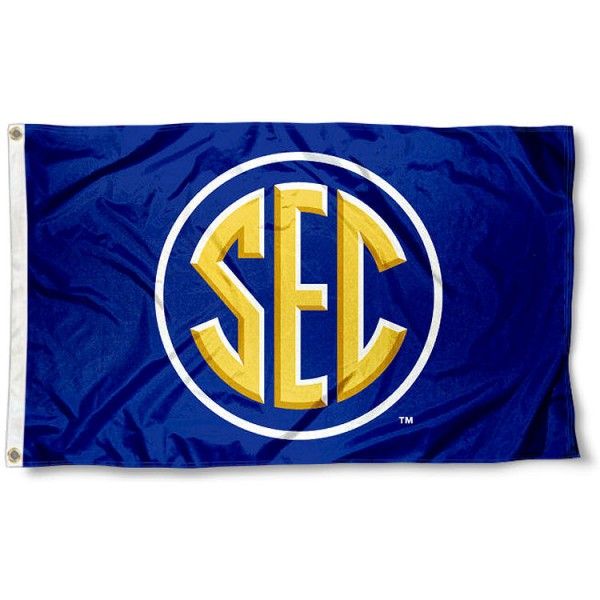 SEC Southeastern Conference Flag measures 3'x5', is made of 100% poly, has quadruple stitched sewing, two metal grommets, and has double sided SEC Southeastern Conference Flag logos. Our SEC Southeastern Conference Flag is officially licensed by the SEC Conference and the NCAA.
